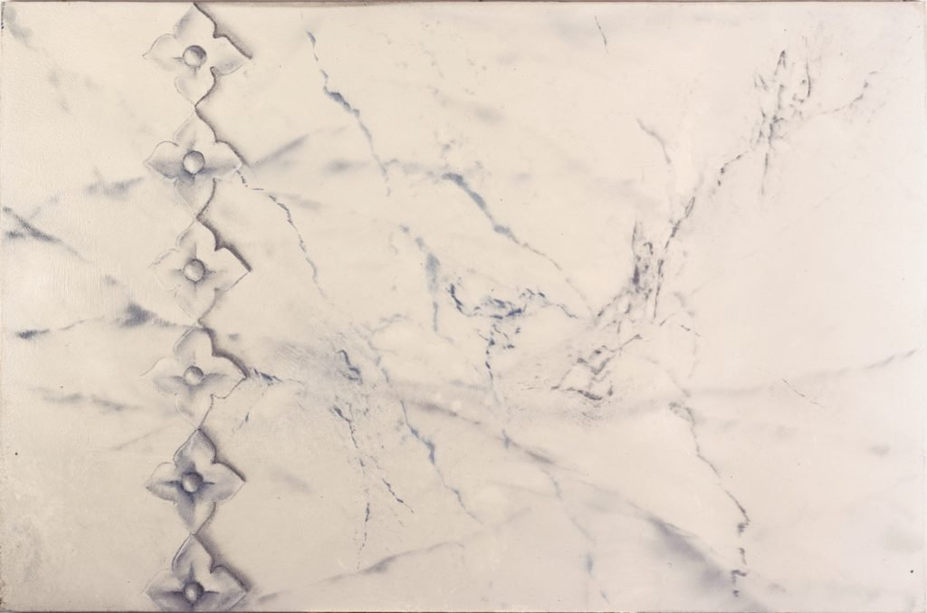 Veined white marble