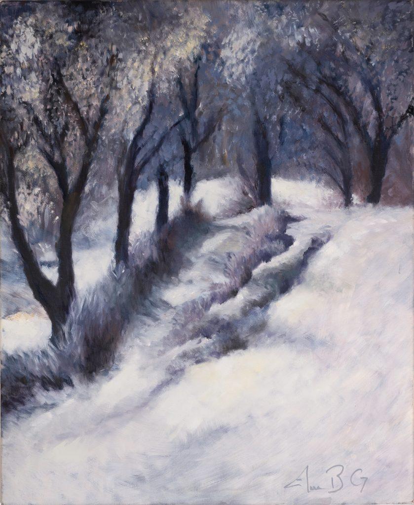 Paysage de neige- H 61 x 50 cm